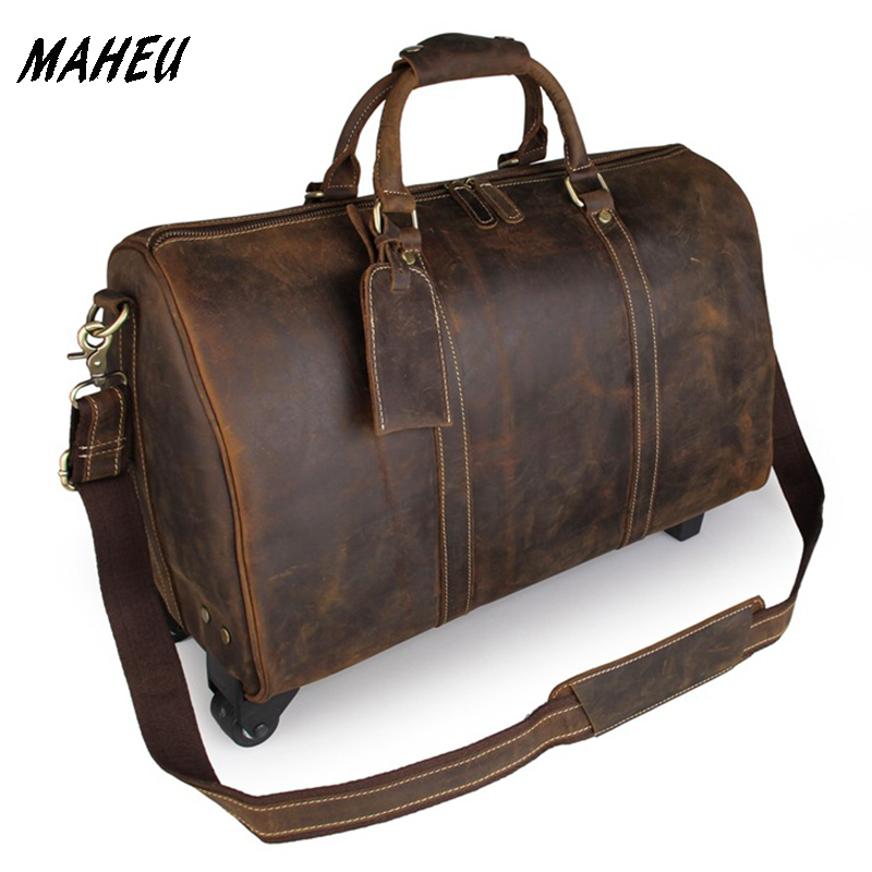 70647f8dac High Quality Crazy Horse Leather Trolley Bag Big Genuine Leather Weekend Bag  Duffle Bags on Wheeled Cowhide Overnight Tote Bag