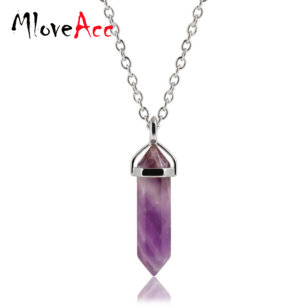 Mloveacc Bullet Shape Stone Real Choker Necklaces Crystal