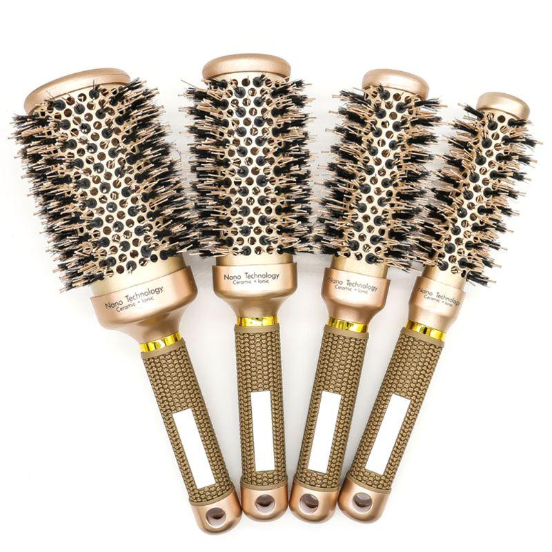 1Pcs Round Hair Comb Hairdressing Curling Hair Brush Ceramic Iron Hair Comb Brush Curler Magic Comb Round Comb Hair Brushes