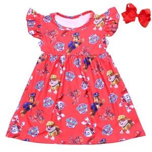 Image 2 - 2019 Summer Girls Dress Cartoon Boy And Boy Printed Kids Pearl Dress Toddler Girls Milk Silk Clothing Matching Bow Wholesale