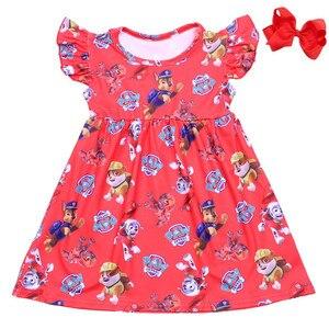 Image 2 - فستان بناتي صيفي 2019 مطبوع عليه رسوم كرتونية للأولاد والأولاد فستان لؤلؤ للأطفال الصغار ملابس من الحرير والحليب للبيع بالجملة
