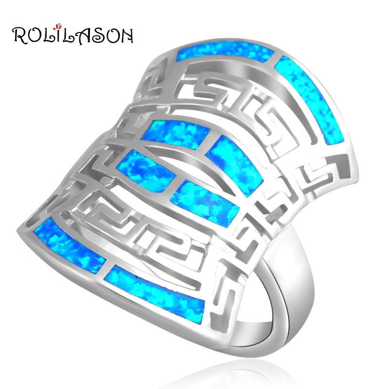 Special designer new arrival products Fashion Jewelry Blue Fire Opal  silver plated  Rings for women USA  #7 #7.5 #8 OR493