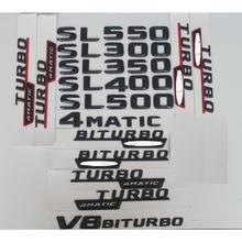 3D Matt Black Trunk Letters Badge Emblem Emblems Badges for Mercedes Benz SL280 SL300 SL350 SL500 SL600 V8 BITURBO AMG 4MATIC