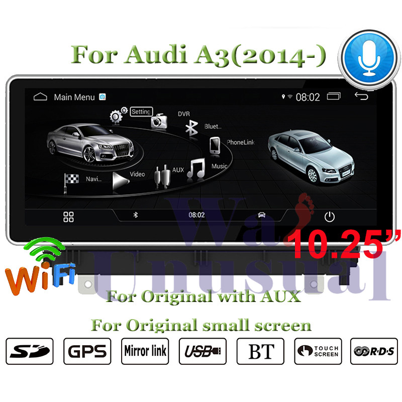 WANUSUAL Android 4.4 Car GPS Navigation For AUDI A3 (2014 2015 2016 2017) NO DVD Player Auto Radio Double Din MP4 Media Center