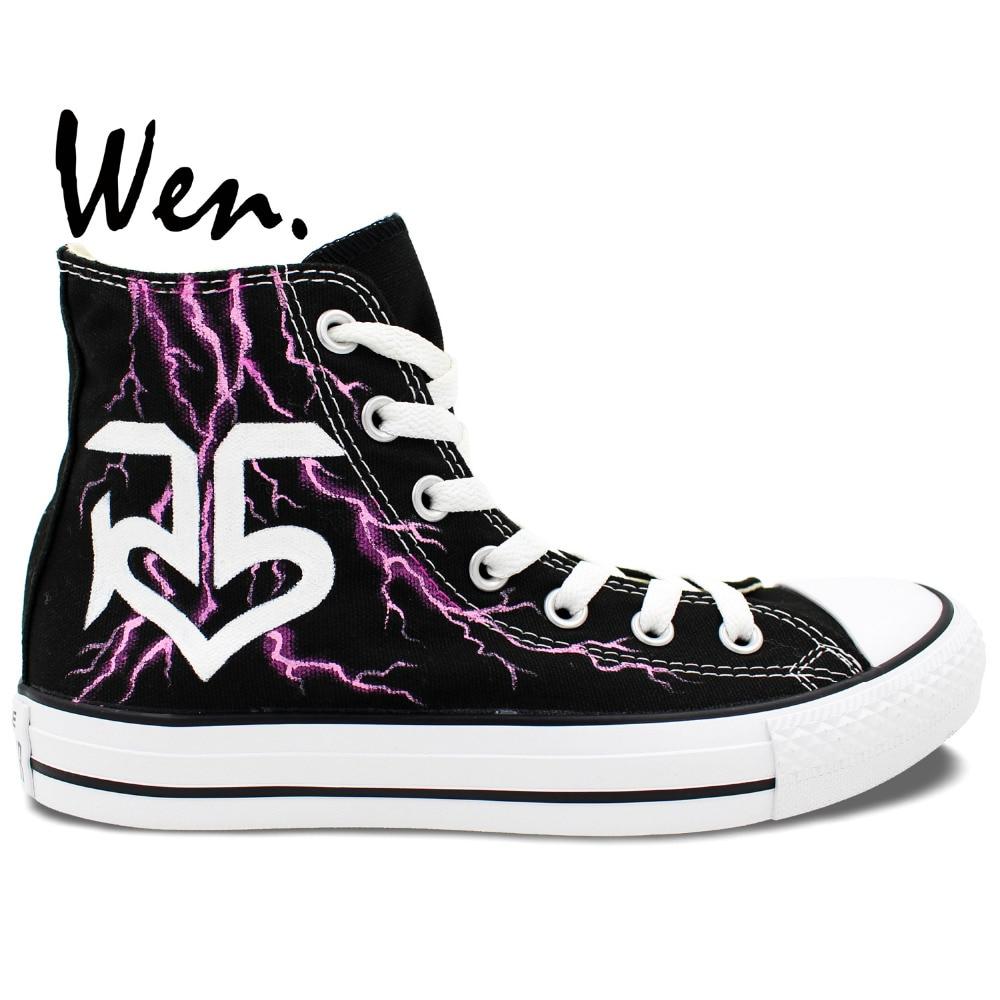 Wen håndmalede sko Design Custom Lightning R5 Man Woman's Black High Top Canvas Sneakers til Presents