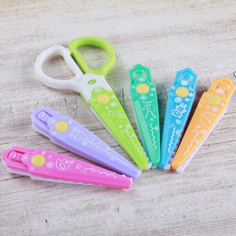 Coloffice 6PC/Box Scissors DIY Cut Album Lace Replaceable Card-Pattern Scissor Multipurpose For Kid Safe School Office Supplies