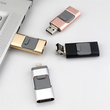 promotional gifts 3 in 1 USB 2.0 Memory Mini USB Flash Drive Disk ios flash usb drive for iphone & ipad