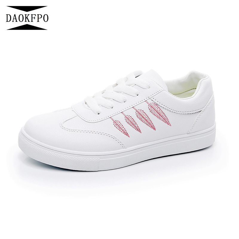 DAOKFPO 2018 Women Shoes New Fashion Casual Platform 4 Leaves Embroidery PU Leather lace-up White Winter Shoes Sneakers NVF-41