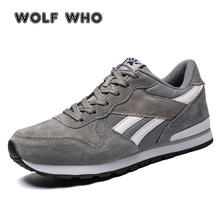 WOLF WHO Men Casual Leather Shoes Lace-Up Suede Leather footwear Male Flats Fashion sneakers men lightweight Walk krasovki X-096