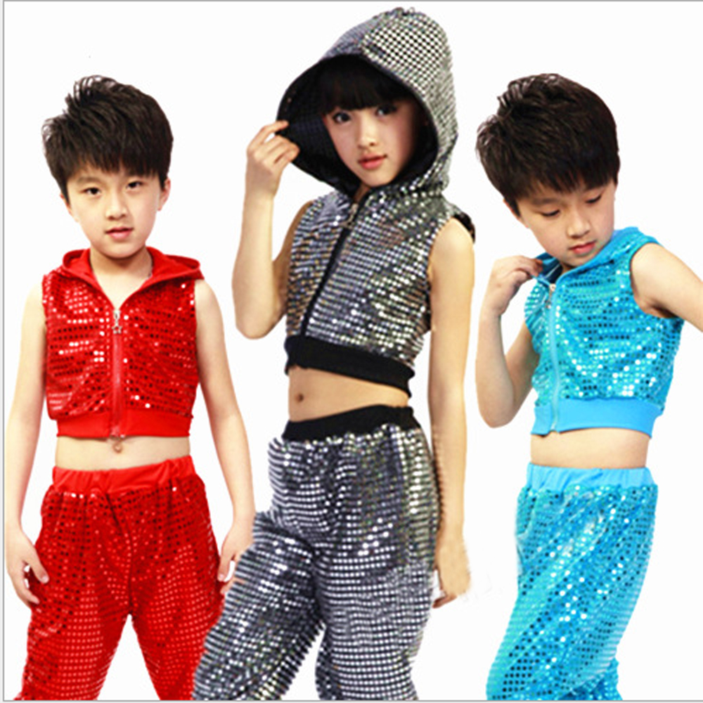 11.11 New Kids Children Sequin Hip Hop Dance Costume Stage Jazz Dance Costumes Suit Girls Boys Crop Top With Hooded and Pants
