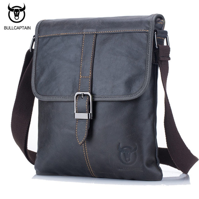 bee4d631b0c4 BULLCAPTAIN 2018 Мужская сумка из натуральной кожи Мужская Новая сумка  через плечо мужская маленькая деловая сумка