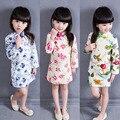 2016 Crianças de Primavera Cheongsam Estilo Chinês Vestidos Da Menina Crianças Cheongsam Roupas Vestidos Da Cópia Da Flor Vestido Da Menina das Crianças