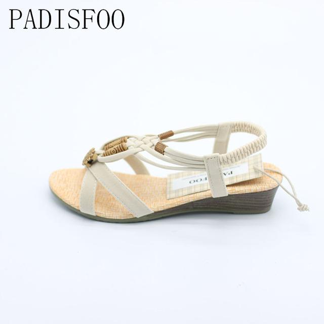 POADISFOO 2017 Bohemian Women Summer  Sandals low Heel Flip  Shoes With Sunflower Beads Flat Shoes  Size 36-40 .HYKL-1503