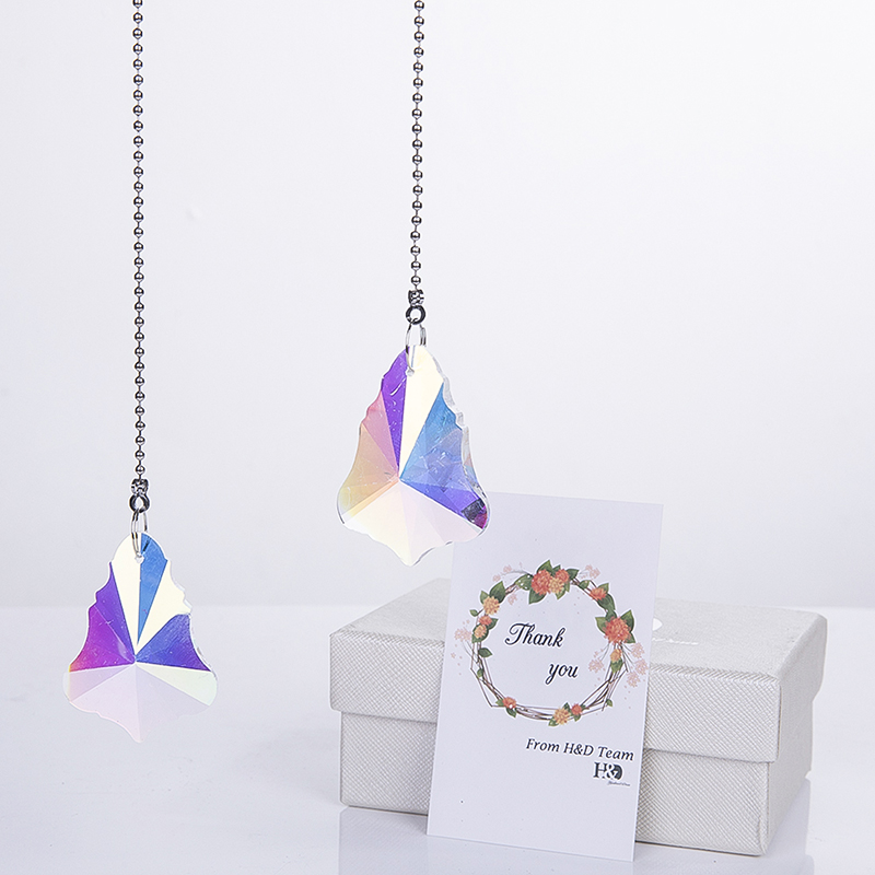 H&D Crystal Sun Catcher,2 Crystal Maple Leaf Prisms Rainbow Pendants Crystal Ceiling Fan Pull Chains (Pack of 2,Colorful)