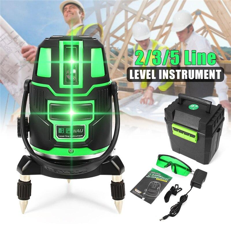 2/3/5 Linhas cruzadas Indoor/Nível de Auto-Nivelamento A Laser Verde Ao Ar Livre 360 Rotary Ferramenta de Medida definir EUA Plug Raio Alternando Direct
