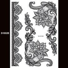 Indian Arabic Flash White Henna Tattoo Paste Lace Designs Choker Water Transfer Black Tattoos Sticker Taty S1002B