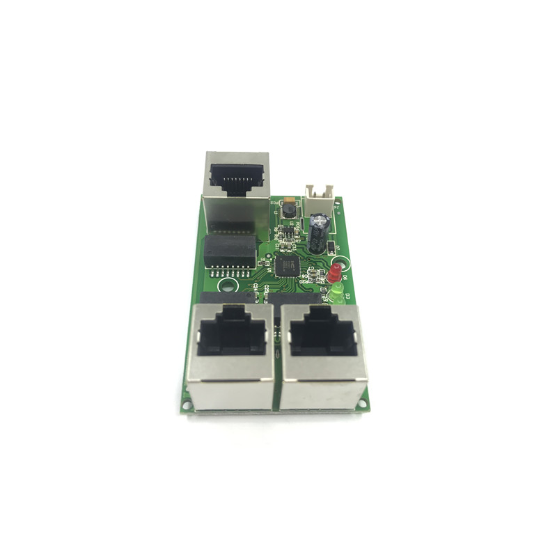 Industrial grade wide temperature low power network cabling Mini mini Ethernet 3 port 10/100Mbps vertical 180 degreeswitchmodule
