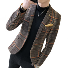 2018 fashion new mens casual suit jacket boutique business dress coat British style Male houndstooth grid plaid blazers