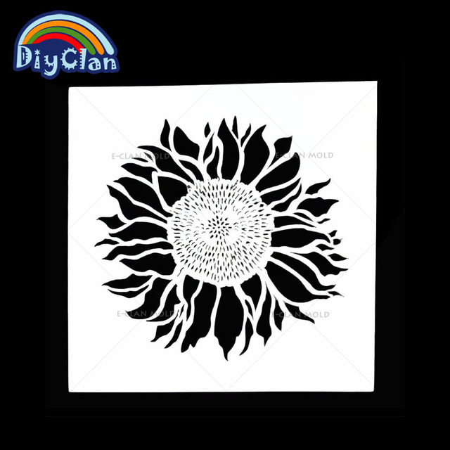 13x13cm Sunflower Style Cake Stencil Fondant Tools For Decorating Flower Plastic Wall Painting Stencils