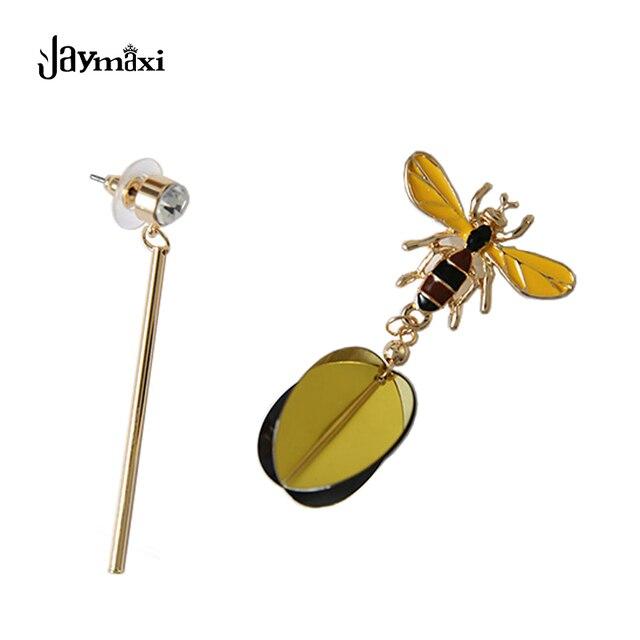 Небольшие Пчелы Асимметричные Серьги Позолоченные Женщины Мода Новые Ювелирные Изделия 2017 Серьги Падения Подарки для Любви E201224