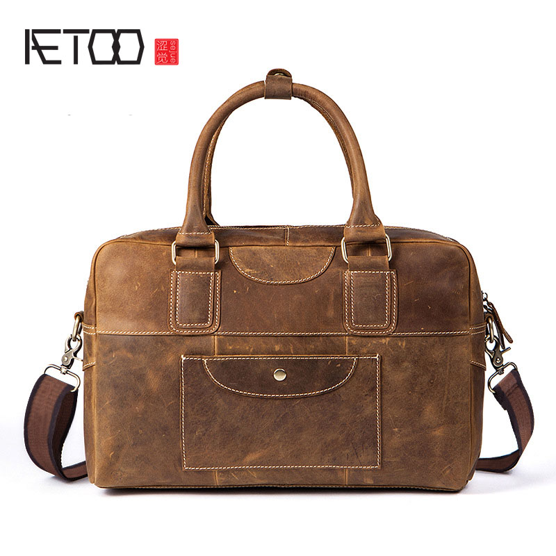 AETOO Men's handbag leather first layer leather man bag retro crazy leather bag large capacity aetoo leather men bag new retro first layer of leather handbag large capacity vegetable tanned leather shoulder bag