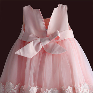 Image 4 - new born baby girl dress pink lace baby wedding party ball gown pearl sleeveless girls christmas clothes vestido infantil 6M 4Y