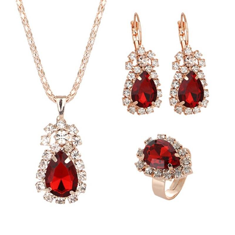 Fashion Waterdrop Shiny Rhinestones Necklace Ring Earrings Women Jewelry Set Elegant Luxury Design New Wedding Jewelry
