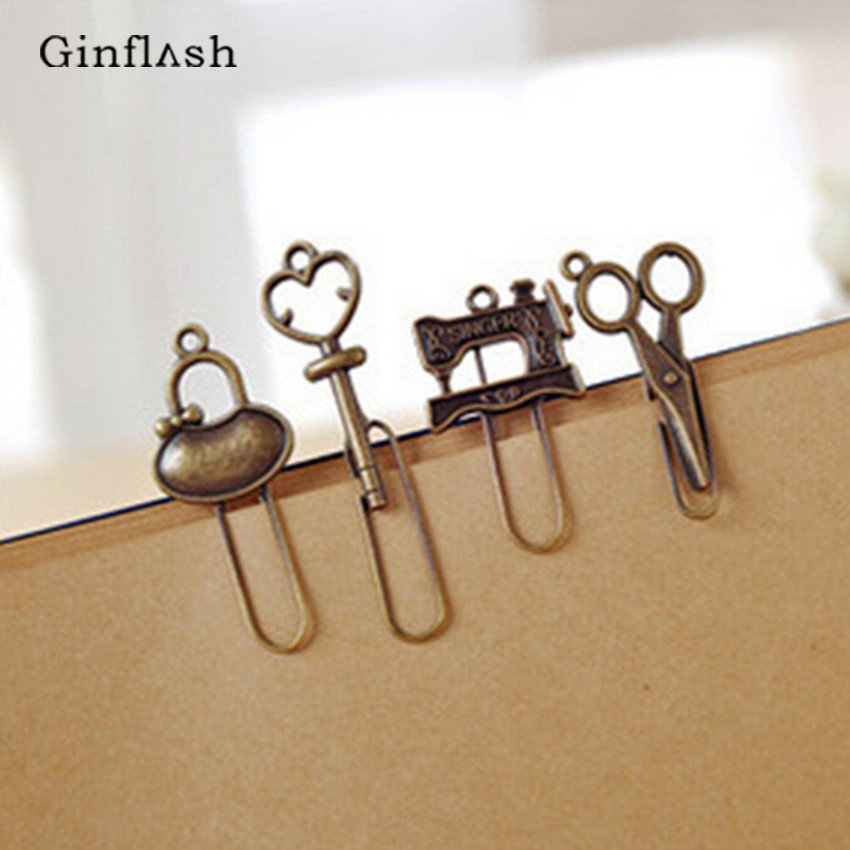 4pcs/lot Vintage Ancient Retro Element Metal Bookmarks For Book Creative Item Kids Gift Korean Stationery Color Random