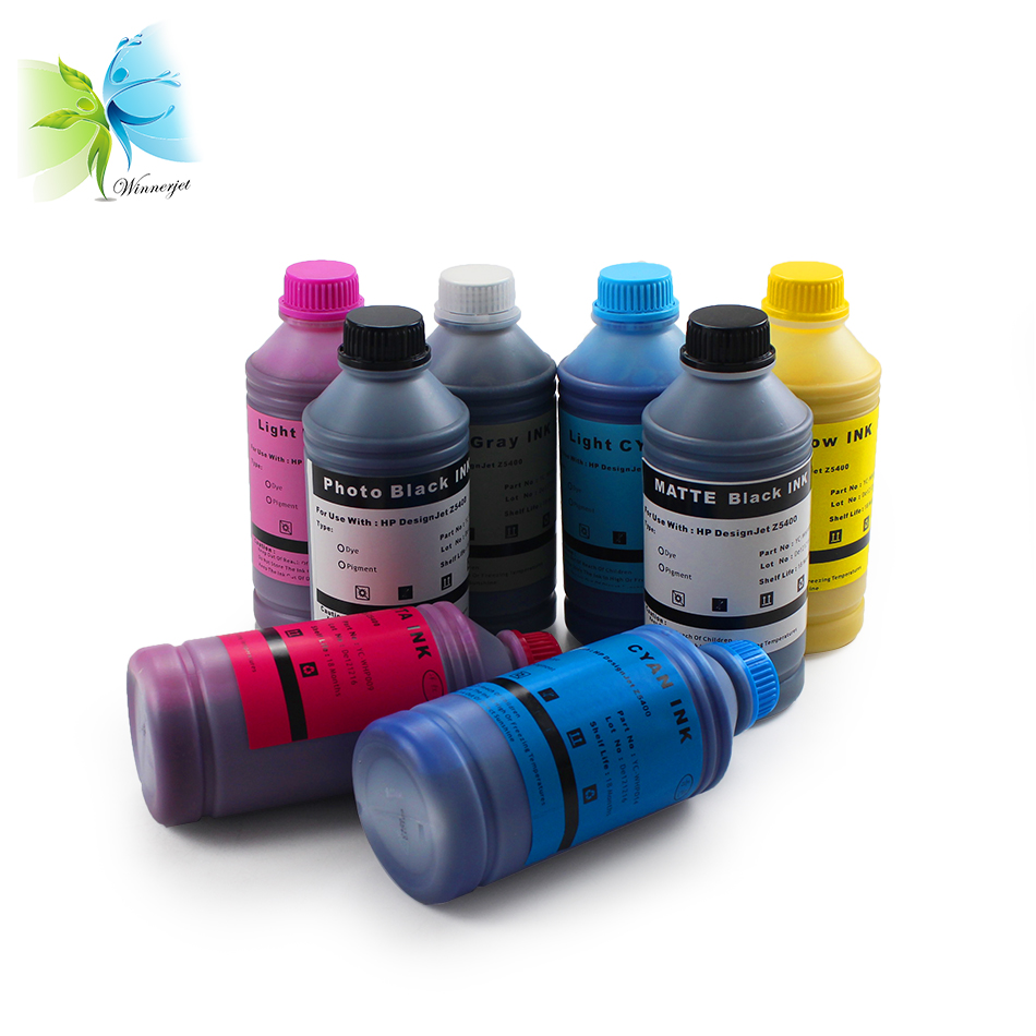 Winnerjet 1000 ML pour 70 772 8 couleurs encre pigmentée pour HP Designjet Z5400 Z5400PS traceur recharge encre jet d'encre