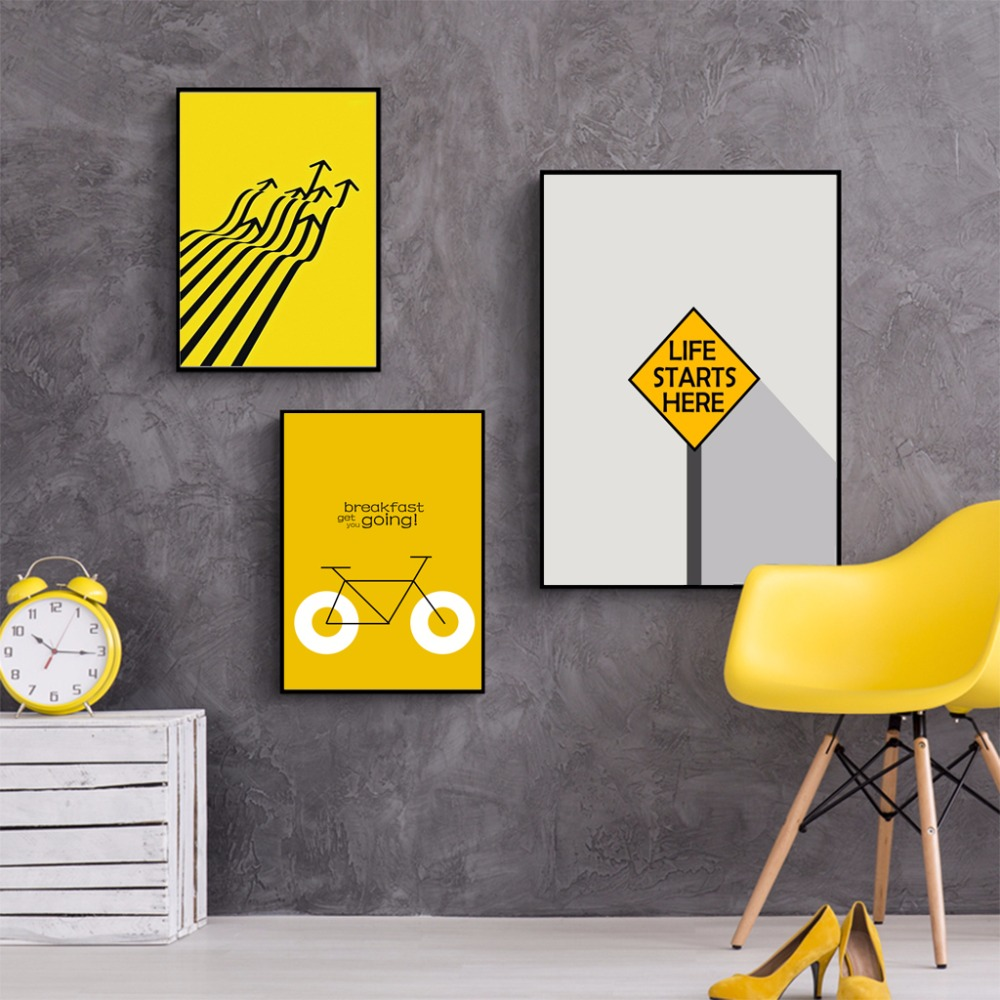 wall art Creative minimalist black and white yellow fashion home ...