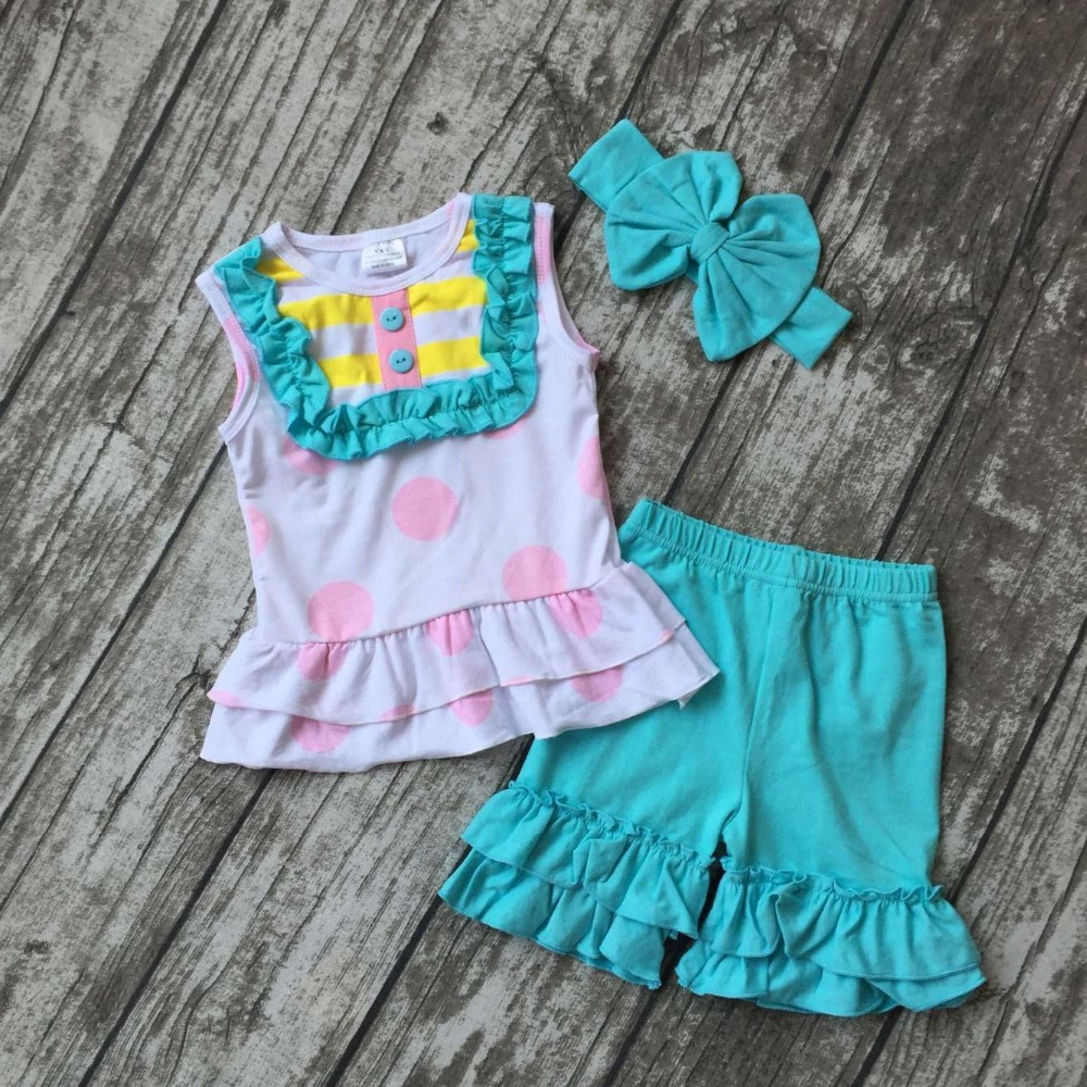 girls fashion summer clothing girls summer outfits with polka dot top blue ruffle shorts girls children cute sets with headband 2016 fashion summer rare editios for girls cute clothing outfits kids short sleeve bow cotton polka dot dress with pants suit