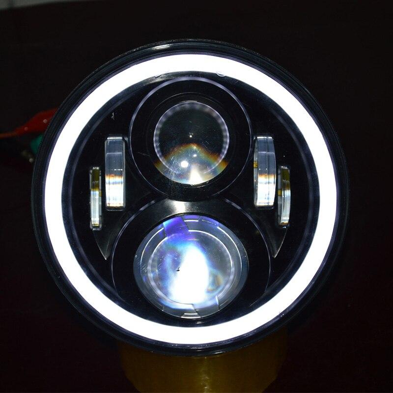 "Chrome / Black 7"" White With Orange Halo Projection Headlight for FLS, FLSS, FLSTC, FLSTF Bagger Dresser Motorcycles"