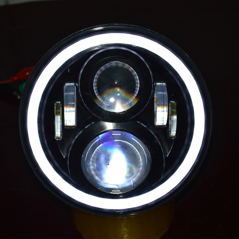 Chrome / Black 7 White With Orange Halo Projection Headlight for Harley FLST Bagger Dresser Motorcycles