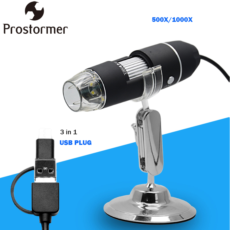 PROSTORMER 500X-1000X Digital Mikroskop 3in 1 USB Mikroskope Telefon/Mac/PC WIN Biologische Mikroskop Kamera Lupe