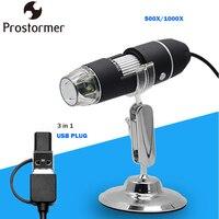 PROSTORMER 500X 1000X Digital Microscope 3in 1 USB Microscopes Phone Mac PC WIN Biological Microscope Camera