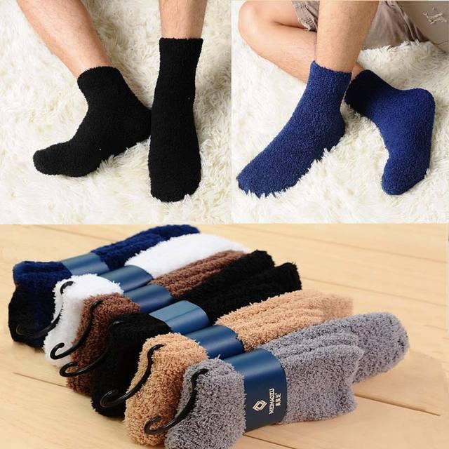 1Pair Women  Men Hot Sale Winter Thicken warm Socks Sold Color Coral Fleece Bed Sleep Non Slip Sock