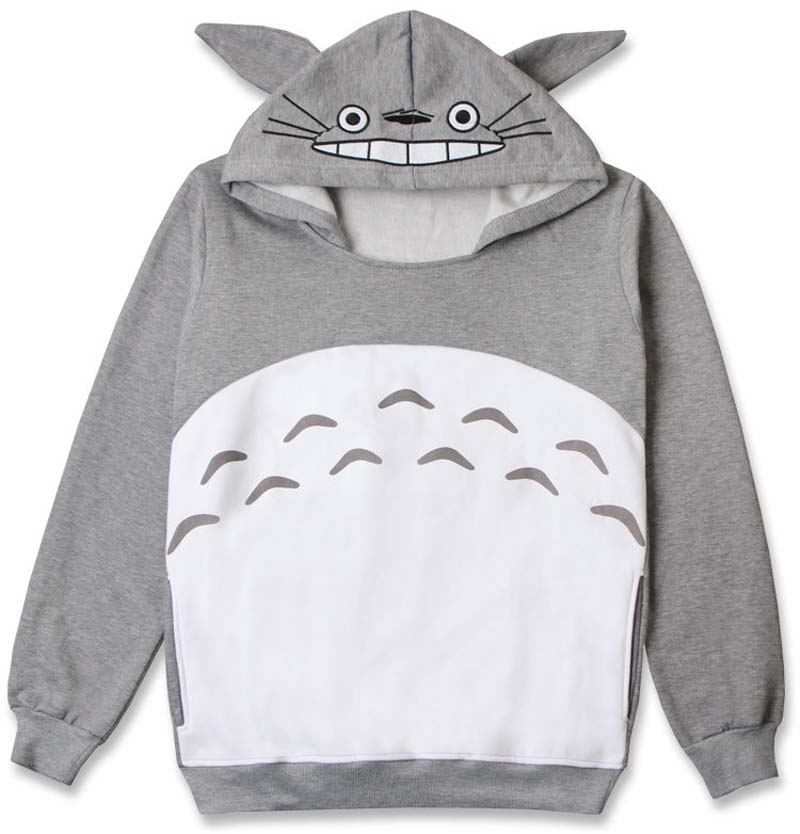 New Cartoon Cute Totoro Hoodie With Ears Style Pullover Gray Cotton My Neighbor Totoro Sweatshirt Top