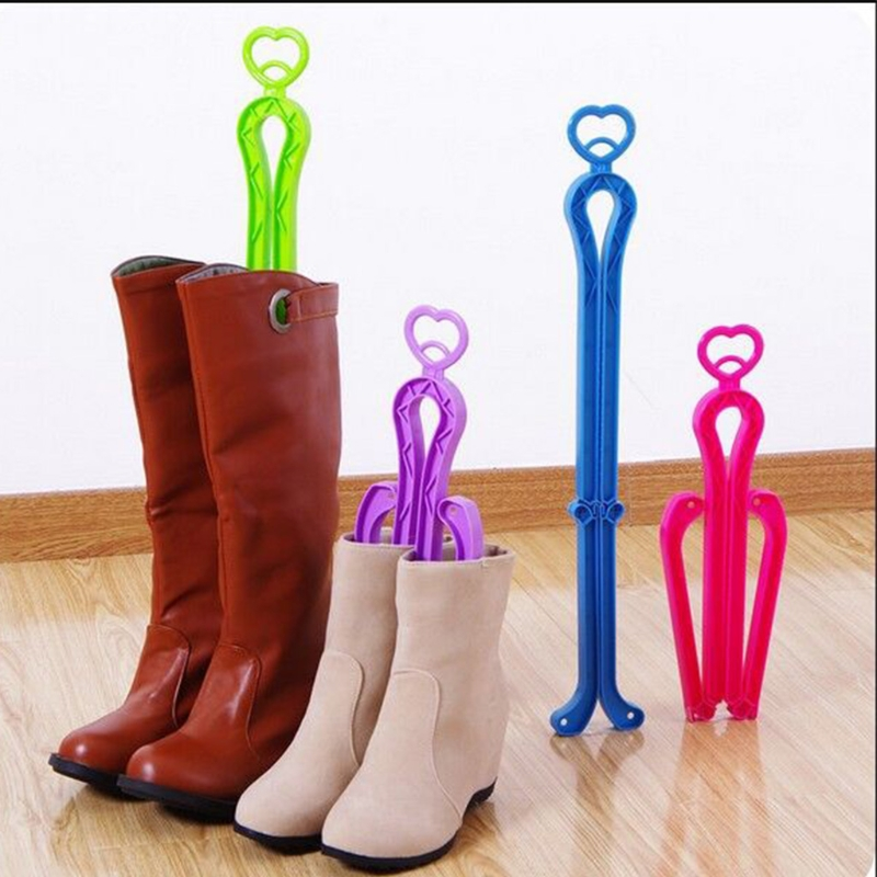 EYKOSI Plastic Women Lengthen Folding Domestic Candy Color Boot Shoe Stand Holder Shoe Trees elegant candy color stand collar sleeveless jumpsuit for women