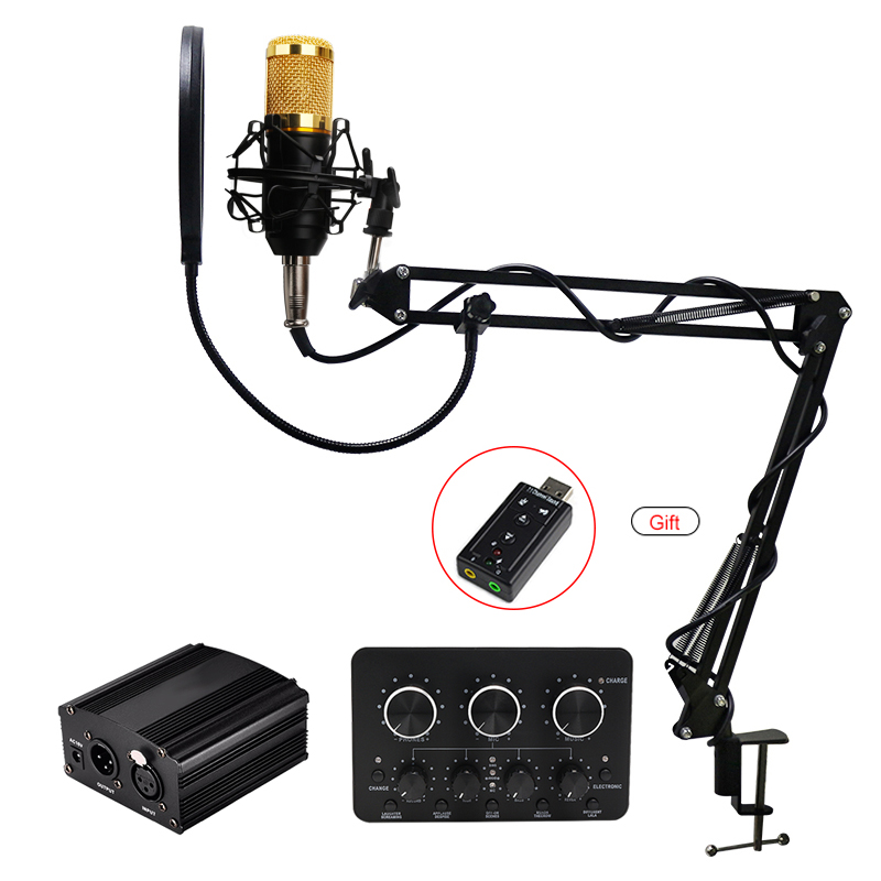 BM 800 Microphone Professional Condenser Microphone bm800 Stand Pop Filter Tripod for Microphone for Computer PC Video Recording image
