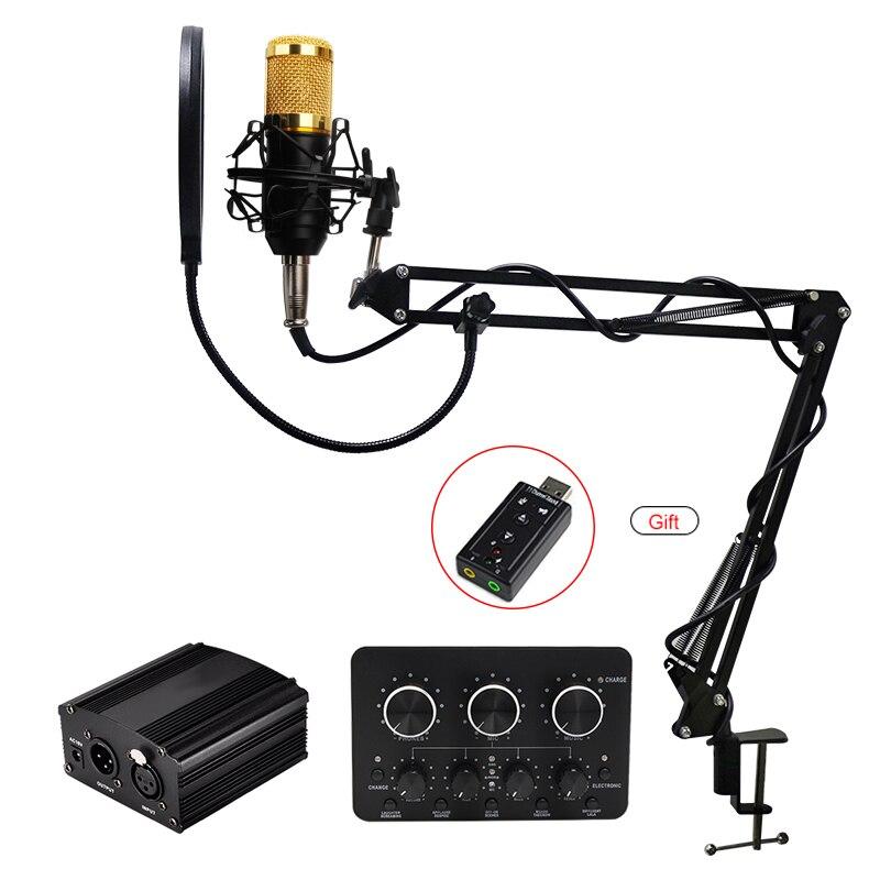 BM 800 micrófono de condensador profesional bm800 soporte filtro Pop trípode para micrófono para PC ordenador de grabación de vídeo
