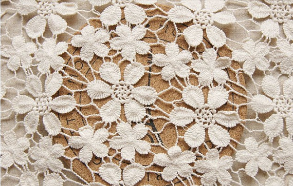 Popular Ivory Cotton Lace Fabric Crocheted FabricBuy Cheap Ivory