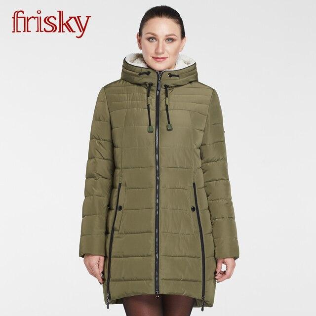 8fd5c7e8ff4d Frisky Große Größe frauen Winter mantel Jacke baumwolle taste Dicke Warme  Wind Unten Jacken Weibliche Parkas