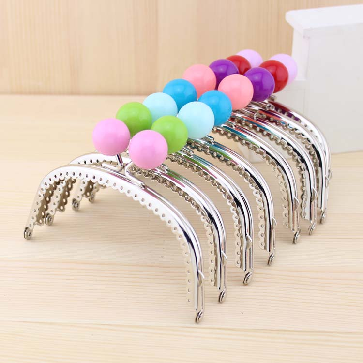 free shipping125cm shiny silver candy bead metal purse framewallet frame
