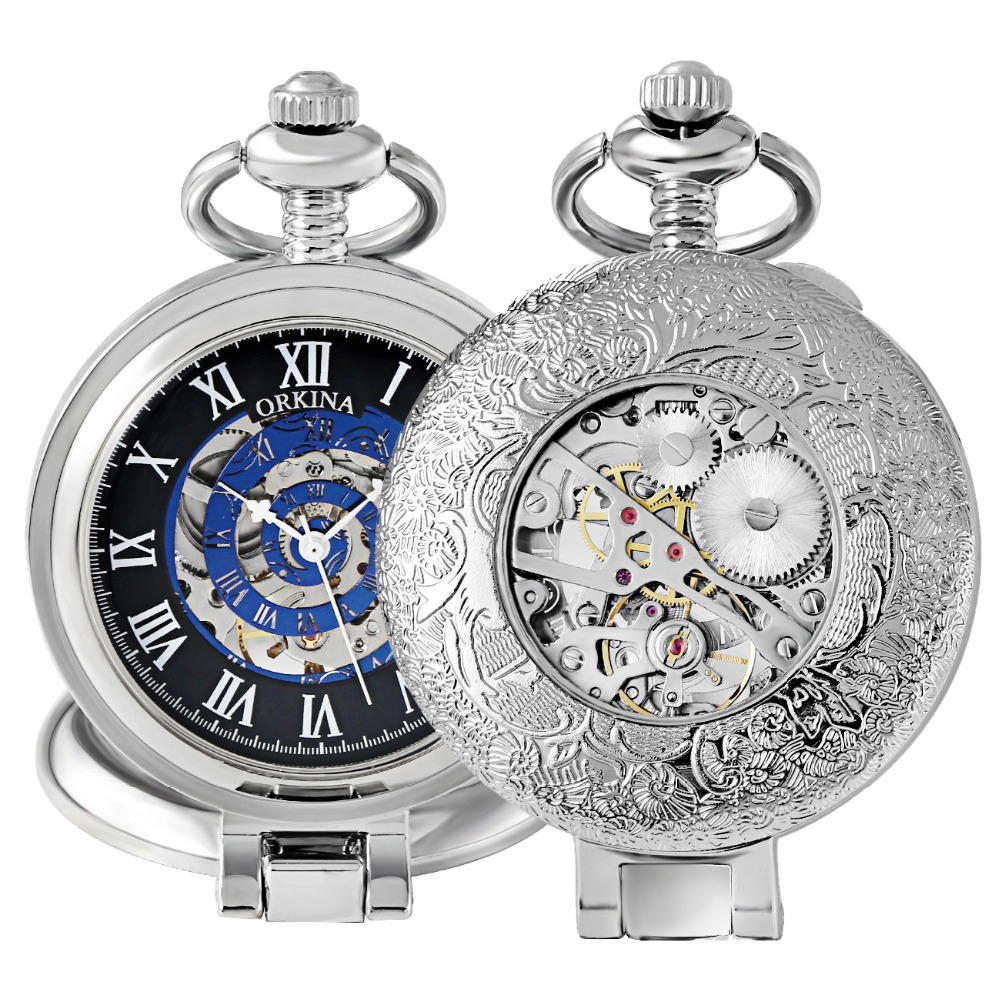 Antique Mechanical Pocket Watches Silver Skeleton Necklace Fob Watch Mechanical Hand Wind Mens Pendant Watches Clock with Chain
