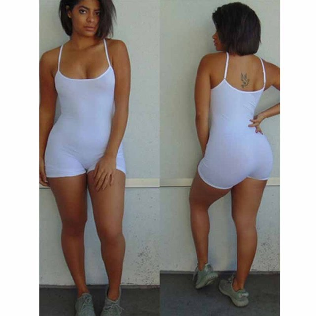 Casual Summer Bodycon Rompers Womens Jumpsuit 2019 Summer Playsuit Sexy Slim Body Skinny Rompers Shorts Spaghetti Strap Leotard 10