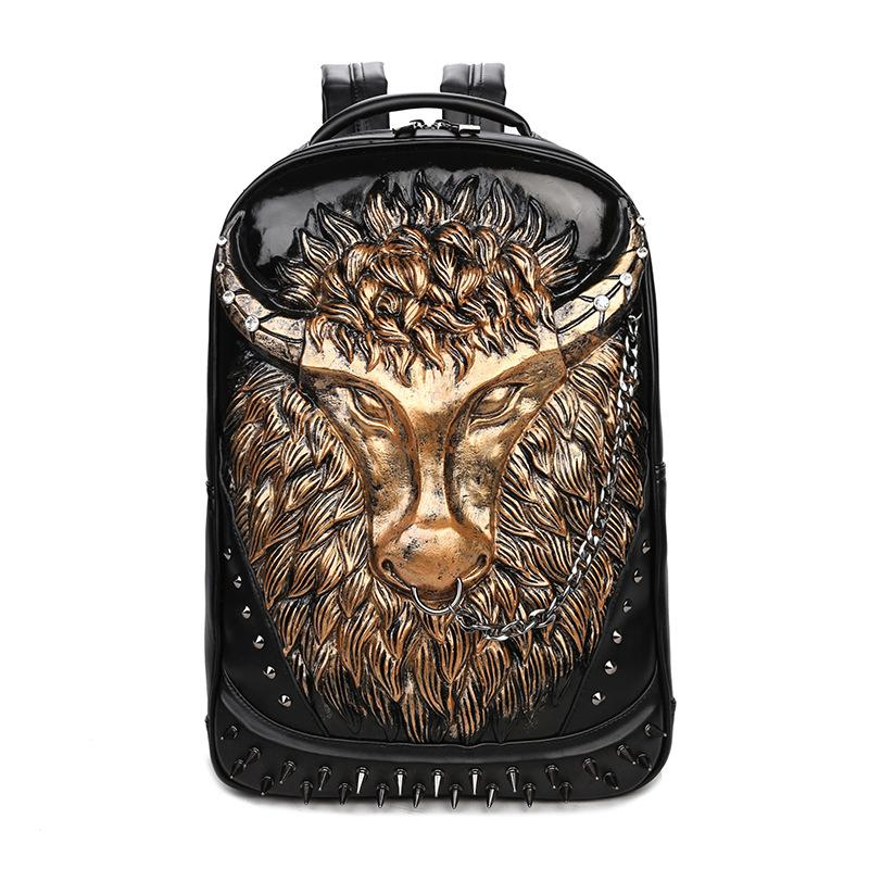 Fashion 3D Cattle Backpacks Punk Personality Rivet Leather Bag Men PU Shoulder Bag Casual Black Backpack Boy School Bags 3d lion leather backpacks fashion men school travel computer backpack bags personality silver gold rivet animal bags halloween