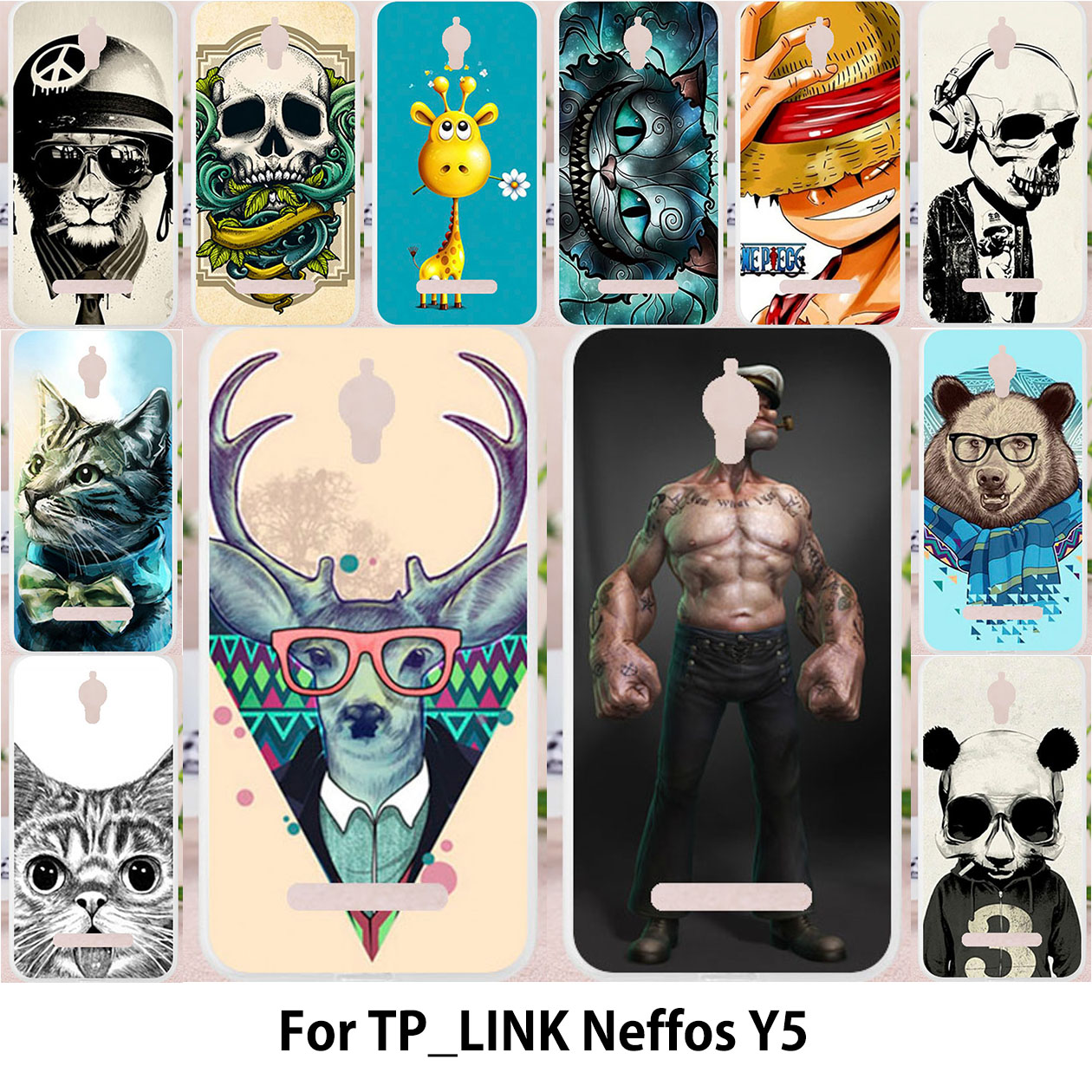 TAOYUNXI For TP-LINK Neffos Y5 case Silicon Cases For TPLINK neffos Y5 TP LINK TP802A Cover Animal Panda Cat Tiger Owl Patterned