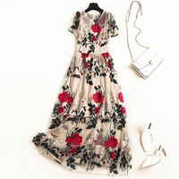 Women vintage red rose floral embroidery long dress short sleeve a line summer sexy mesh dresses new 2019 beige