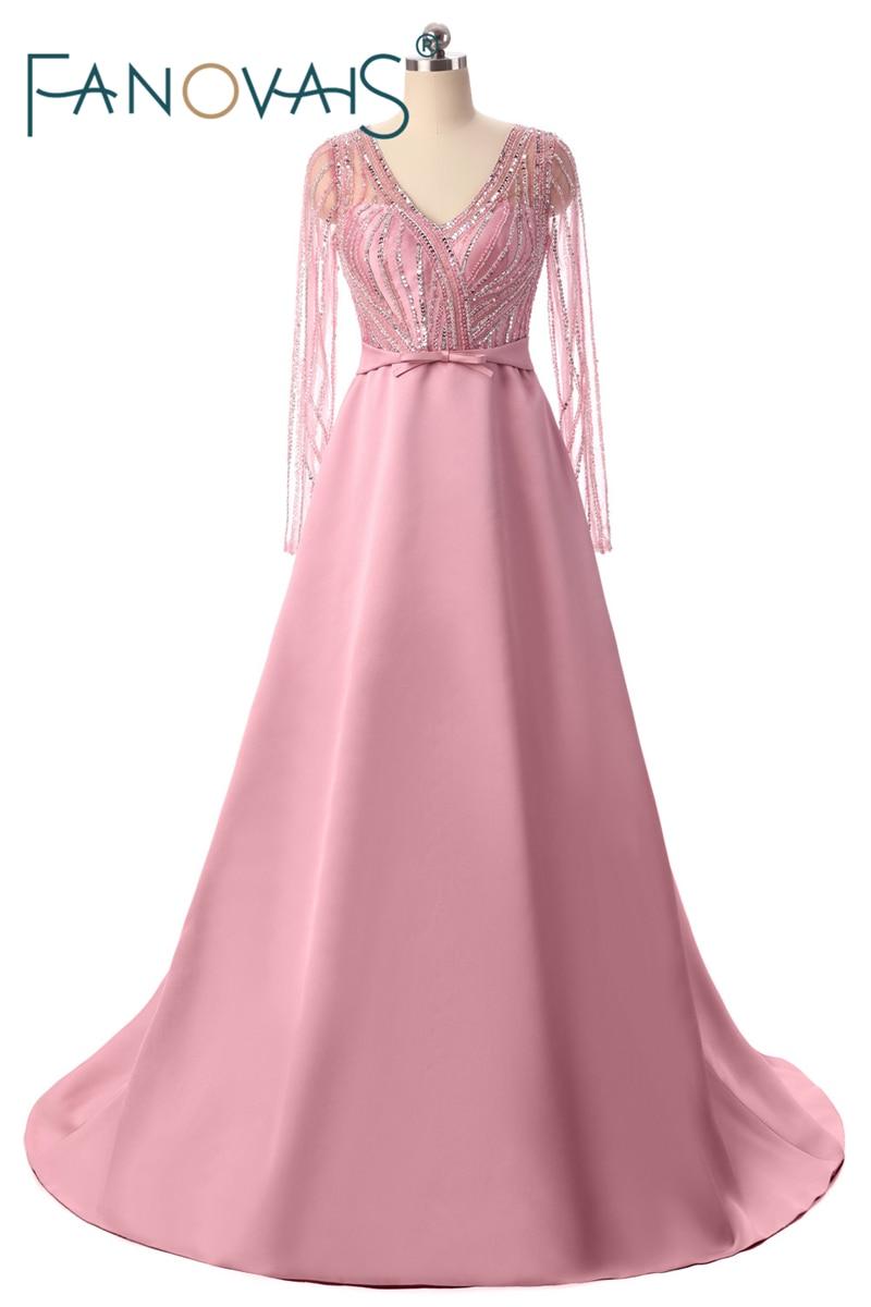Abiti da ballo rosa Abiti da sera 2018 con maniche lunghe Abiti da sera di cristallo con perline di lusso Vestido de festa