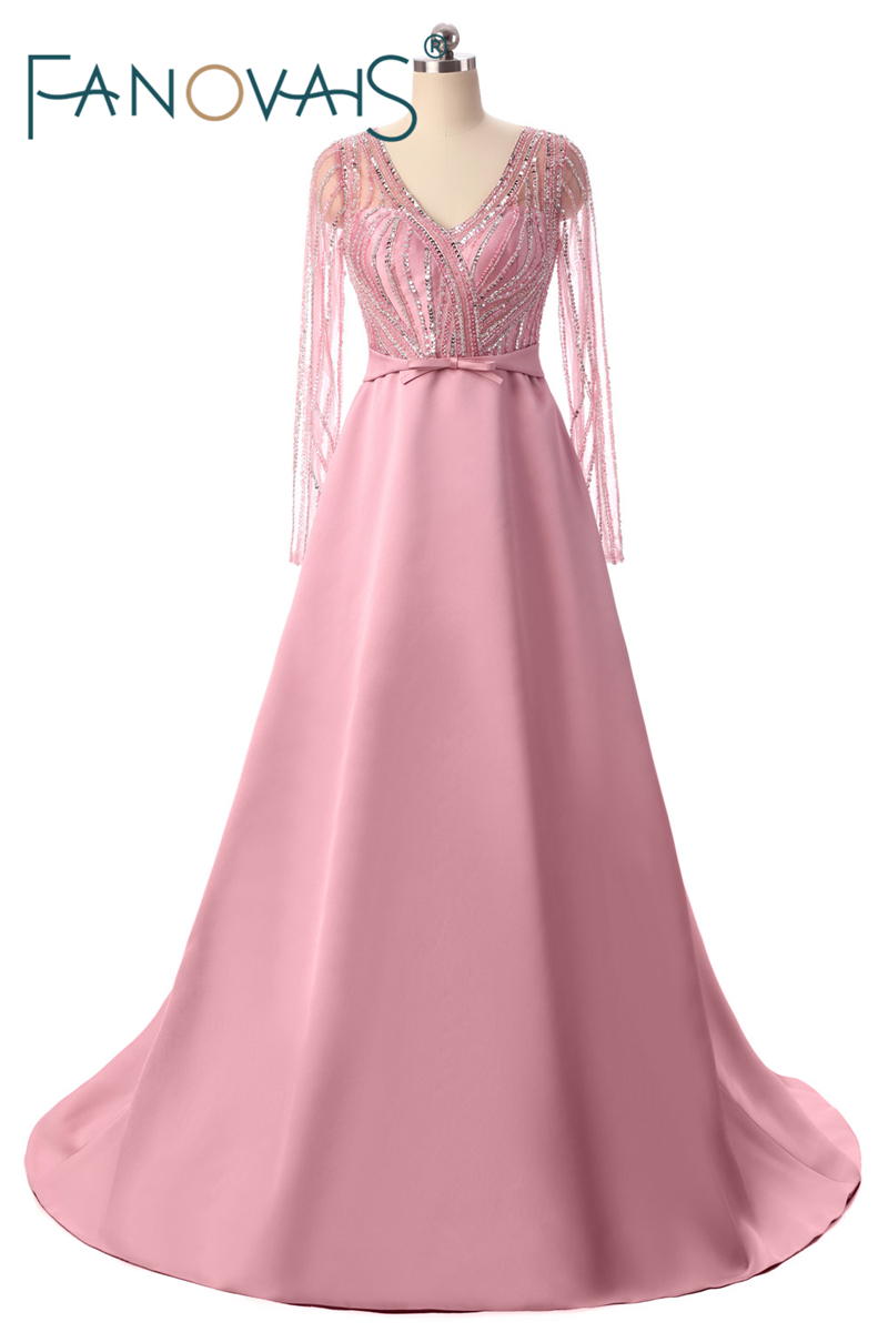 Pink   Prom     Dresses   2019 Evening   Dresses   With Long Sleeves Luxurious Beading Crystal Formal Party Gowns Vestido de festa